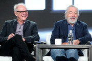 Executive producer/director Barry Levinson (L) and executive producer/actor Robert De Niro of the film 'The Wizard of Lies' speak onstage during the HBO portion of the 2017 Winter Television Critics Association Press Tour at the Langham Hotel on January 14, 2017 in Pasadena, California.