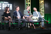(L-R) Executive producer Jessica Goldberg, actors Hugh Dancy, Michelle Monaghan, and Aaron Paul of Hulu's Original Series 'The Path' speak onstage during Hulu's 2017 Winter TCA Tour at Langham Hotel on January 7, 2017 in Pasadena, California.