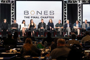 (L-R) Actors Eric Millegan, John Boyd, Tamara Taylor, Michaela Conlin, David Boreanaz, and Emily Deschanel, Creator/Executive Producer Hart Hanson, and Executive producers Jonathan Collier, Michael Peterson, and Randy Zisk of the television show 'Bones' speak onstage during the FOX portion of the 2017 Winter Television Critics Association Press Tour at Langham Hotel on January 11, 2017 in Pasadena, California.