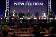 (L-R) Executive producers Jesse Collins and Chris Robinson, actors Luke James, Woody McClain, Elijah Kelly, Algee Smith and Keith Powers of the miniseries 'The New Edition Story' speak onstage during the BET portion of the 2017 Winter Television Critics Association Press Tour at the Langham Hotel on January 13, 2017 in Pasadena, California.