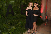 Actresses Elizabeth Lail (L) and Shay Mitchell attend the 2018 A+E Upfront on March 15, 2018 in New York City.