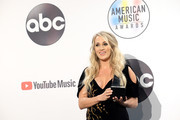 Carrie Underwood, winner of the Favorite Female Artist - Country award poses in the press room during the 2018 American Music Awards at Microsoft Theater on October 9, 2018 in Los Angeles, California.