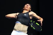 Francesca Schiavone of Italy serves in her first round match against Jelena Ostapenko of Latvia on day one of the 2018 Australian Open at Melbourne Park on January 15, 2018 in Melbourne, Australia.