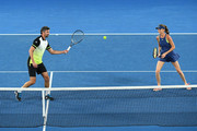 Daniela Hantuchova of Slovakia and Goran Ivanisevic of Croatia compete in their mixed doubles match against Alicia Molik  of Australia and Mark Philippoussis of Australia on day 10 of the 2018 Australian Open at Melbourne Park on January 24, 2018 in Melbourne, Australia.