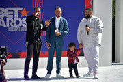 (L-R) Nick Grant, co-host Terrence J, Asahd Tuck Khaled, and DJ Khaled speak onstage at Live! Red! Ready! Pre-Show, sponsored by Nissan, at the 2018 BET Awards at Microsoft Theater on June 24, 2018 in Los Angeles, California.