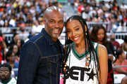 Chris Spencer (L) and Erica Ash pose at the Celebrity Basketball Game Sponsored By Sprite during the 2018 BET Experience at Los Angeles Convention Center on June 23, 2018 in Los Angeles, California.