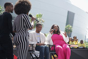 (L-R) Amara La Negra, Safaree Samuels, Thomas Jordan Jr. and Mary-Pat Hector speak at BETX Live!, presented by Denny's, during the 2018 BET Experience at Microsoft Square at L.A. Live on June 21, 2018 in Los Angeles, California.