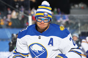 Kyle Okposo #21 of the Buffalo Sabres warms up ahead of the 2018 Bridgestone NHL Winter Classic at Citi Field on January 1, 2018 in the Flushing neighborhood of the Queens borough of New York City.
