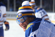 Kyle Okposo #21 of the Buffalo Sabres looks on during warm ups prior to the game against the New York Rangers during the 2018 Bridgestone NHL Winter Classic at Citi Field on January 1, 2018 in Queens, NY.