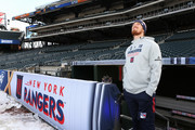 Marc Staal #18 of the New York Rangers looks out on Citi Field during practice for the 2018 Bridgestone NHL Winter Classic at Citi Field on December 31, 2017 in Queens, NY.