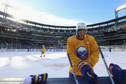 Kyle Okposo #21 of the Buffalo Sabres attends practice for the 2018 Bridgestone NHL Winter Classic at Citi Field to be played on New Year's Day between the Buffalo Sabres and the New York Rangers on December 31, 2017 in Queens, NY.