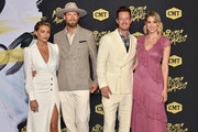Brittney Marie Kelley, Brian Kelley and Tyler Hubbard of Florida Georgia Line, and Hayley Hubbard attend the 2018 CMT Music Awards at Bridgestone Arena on June 6, 2018 in Nashville, Tennessee.