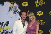 Tyler Hubbard (L) of musical duo Florida Georgia Line and Hayley Hubbard attend the 2018 CMT Music Awards at Bridgestone Arena on June 6, 2018 in Nashville, Tennessee.