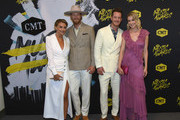 (L-R) Brittney Marie Kelley and Brian Kelley, Tyler Hubbard of musical duo Florida Georgia Line and Hayley Hubbard attend the 2018 CMT Music Awards at Bridgestone Arena on June 6, 2018 in Nashville, Tennessee.