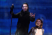 Marilyn Manson (L) and Yoshiki of X Japan perform onstage during the 2018 Coachella Valley Music And Arts Festival at the Empire Polo Field on April 21, 2018 in Indio, California.