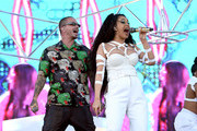 (L-R) J Balvin and Cardi B perform onstage during the 2018 Coachella Valley Music And Arts Festival at the Empire Polo Field on April 22, 2018 in Indio, California.