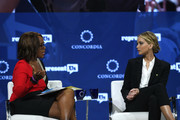 Editor-at-Large for O Magazine and Co-Anchor at CBS This Morning Gayle King (L) and Actor and Board Member of RepresentUs Jennifer Lawrence speak onstage during the 2018 Concordia Annual Summit - Day 2 at Grand Hyatt New York on September 25, 2018 in New York City.