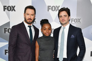 (L-R) Actors Mark-Paul Gosselaar, Saniyya Sidney, and Vincent Piazza attend the 2018 Fox Network Upfront at Wollman Rink, Central Park on May 14, 2018 in New York City.