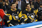 Sidney Crosby #87 and Kris Letang #58 of the Pittsburgh Penguins take part in the 2018 GEICO NHL All-Star Skills Competition at Amalie Arena on January 27, 2018 in Tampa, Florida.