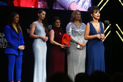 (L-R) Aly Raisman, Rachael Denhollander, Andrea Munford, Angela Povilaitis, and Rosemarie Aquilina speak onstage at the 2018 Glamour Women Of The Year Awards: Women Rise on November 12, 2018 in New York City.