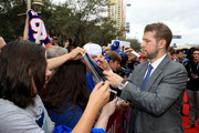 Josh Bailey #12 of the New York Islanders signs autographs after arriving on the red carpet prior to the 2018 Honda NHL All-Star Game at Amalie Arena on January 28, 2018 in Tampa, Florida.