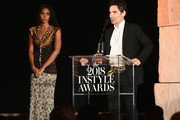 James Kaliardos accepts the Makeup Artist of the Year award onstage during the 2018 InStyle Awards at The Getty Center on October 22, 2018 in Los Angeles, California.