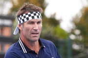 Pat Cash hits the ball during a previewq practice session ahead of tomorrow's 2018 Kooyong Classic at Kooyong on January 8, 2018 in Melbourne, Australia.