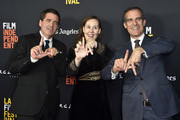 """Film Independent President Josh Welsh, La Film Festival Director Jennifer Cochis, Mayor of Los Angeles Eric Garcetti   attend the 2018 LA Film Festival - Opening Night Premiere Of """"Echo In The Canyon"""" at John Anson Ford Amphitheatre on September 20, 2018 in Hollywood, California."""