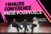 (L-R) Editor in Chief at HuffPost Lydia Polgreen, Kumail Nanjiani and Emily V. Gordon speak onstage during The 2018 MAKERS Conference at NeueHouse Hollywood on February 6, 2018 in Los Angeles, California.