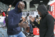 Kevin Garnett (L) and Jamie Foxx attend the 2018 NBA All-Star Game Celebrity Game at Los Angeles Convention Center on February 16, 2018 in Los Angeles, California.