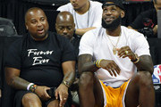 Randy Mims (L) and LeBron James of the Los Angeles Lakers attend a quarterfinal game of the 2018 NBA Summer League between the Lakers and the Detroit Pistons at the Thomas & Mack Center on July 15, 2018 in Las Vegas, Nevada. NOTE TO USER: User expressly acknowledges and agrees that, by downloading and or using this photograph, User is consenting to the terms and conditions of the Getty Images License Agreement.