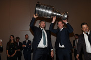 Nicklas Backstrom and Alex Ovechkin of the Washington Capitals arrive with the Stanley Cup to the 2018 NHL Awards presented by Hulu at the Hard Rock Hotel & Casino on June 20, 2018 in Las Vegas, Nevada.