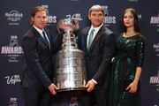 Nicklas Backstrom of the Washington Capitals and Alex Ovechkin with his wife, Anastasia Shubskaya, arrive with the Stanley Cup to the 2018 NHL Awards presented by Hulu at the Hard Rock Hotel & Casino on June 20, 2018 in Las Vegas, Nevada.