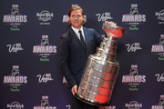Nicklas Backstrom of the Washington Capitals arrives with the Stanley Cup to the 2018 NHL Awards presented by Hulu at the Hard Rock Hotel & Casino on June 20, 2018 in Las Vegas, Nevada.