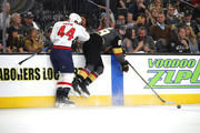 Alex Tuch #89 of the Vegas Golden Knights is checked by Brooks Orpik #44 of the Washington Capitals during the second period in Game Five of the 2018 NHL Stanley Cup Final at T-Mobile Arena on June 7, 2018 in Las Vegas, Nevada.