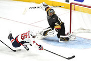 Devante Smith-Pelly #25 of the Washington Capitals scores a third-period goal past Marc-Andre Fleury #29 of the Vegas Golden Knights in Game Five of the 2018 NHL Stanley Cup Final at T-Mobile Arena on June 7, 2018 in Las Vegas, Nevada.