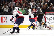 Alex Ovechkin #8 of the Washington Capitals is checked by Pierre-Edouard Bellemare #41 of the Vegas Golden Knights during the first period in Game Five of the 2018 NHL Stanley Cup Final at T-Mobile Arena on June 7, 2018 in Las Vegas, Nevada.