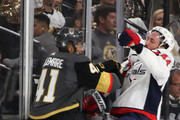Brooks Orpik #44 of the Washington Capitals is checked by Pierre-Edouard Bellemare #41 of the Vegas Golden Knights during the first period in Game Five of the 2018 NHL Stanley Cup Final at T-Mobile Arena on June 7, 2018 in Las Vegas, Nevada.