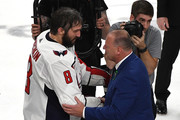 Alex Ovechkin #8 of the Washington Capitals shakes hands with Head coach Gerard Gallant of the Vegas Golden Knights after his teams 4-3 win in Game Five of the 2018 NHL Stanley Cup Final at T-Mobile Arena on June 7, 2018 in Las Vegas, Nevada.