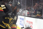 Devante Smith-Pelly #25 of the Washington Capitals and Pierre-Edouard Bellemare #41 of the Vegas Golden Knights battle for the puck during the second period in Game One of the 2018 NHL Stanley Cup Final at T-Mobile Arena on May 28, 2018 in Las Vegas, Nevada.