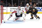 Braden Holtby #70 of the Washington Capitals defends the shot from Tomas Nosek #92 of the Vegas Golden Knights during the second period in Game One of the 2018 NHL Stanley Cup Final at T-Mobile Arena on May 28, 2018 in Las Vegas, Nevada.