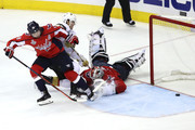 Tomas Nosek #92 of the Vegas Golden Knights scores a goal on Braden Holtby #70 of the Washington Capitals during the third period in Game Three of the 2018 NHL Stanley Cup Final at Capital One Arena on June 2, 2018 in Washington, DC.
