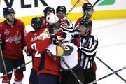 Brooks Orpik #44 of the Washington Capitals fights David Perron #57 of the Vegas Golden Knights during the second period in Game Three of the 2018 NHL Stanley Cup Final at Capital One Arena on June 2, 2018 in Washington, DC.