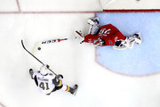 Braden Holtby #70 of the Washington Capitals poke-checks the puck against Pierre-Edouard Bellemare #41 of the Vegas Golden Knights in Game Three of the 2018 NHL Stanley Cup Final at Capital One Arena on June 2, 2018 in Washington, DC. The Capitals defeated the Golden Knights 3-1.