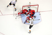 Braden Holtby #70 of the Washington Capitals tends the goal against Alex Tuch #89 of the Vegas Golden Knights in Game Three of the 2018 NHL Stanley Cup Final at Capital One Arena on June 2, 2018 in Washington, DC.