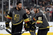 Deryk Engelland #5 and Jonathan Marchessault #81 of the Vegas Golden Knights skate in warm-ups prior to the game against the Washington Capitals in Game Two of the 2018 NHL Stanley Cup Final at T-Mobile Arena on May 30, 2018 in Las Vegas, Nevada.