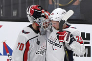 Braden Holtby #70 of the Washington Capitals is congratulated by Christian Djoos #29 after the team's 3-2 win over the Vegas Golden Knights in Game Two of the 2018 NHL Stanley Cup Final at T-Mobile Arena on May 30, 2018 in Las Vegas, Nevada.