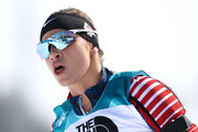 Oksana Masters of the United States after crossing the finish line during the Women's 6 km Sitting Biathlon competition at Alpensia Biathlon Centre on Day 1 of the PyeongChang 2018 Paralympic Games on March 10, 2018 in Pyeongchang-gun, South Korea.