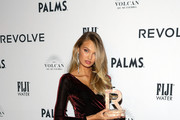Romee Strijd accepts an award during the 2018 #REVOLVEAWARDS on November 9, 2018 in Las Vegas, Nevada.