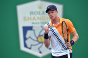 Kyle Edmund of Great Britain celebrates breaking Andreas Seppi of Italy during the Second Round match  of Men's Single match in 2018 Rolex Shanghai Masters at Qi Zhong Tennis Centre on October 10, 2018 in Shanghai, China.
